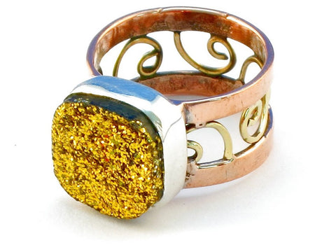 Design 110810 gold druzy .925 Sterling Silver Ring Size 9