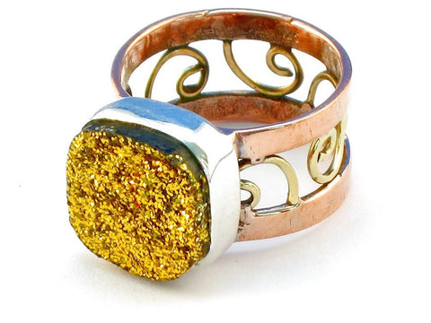 Design 110813 gold druzy .925 Sterling Silver Ring Size 10