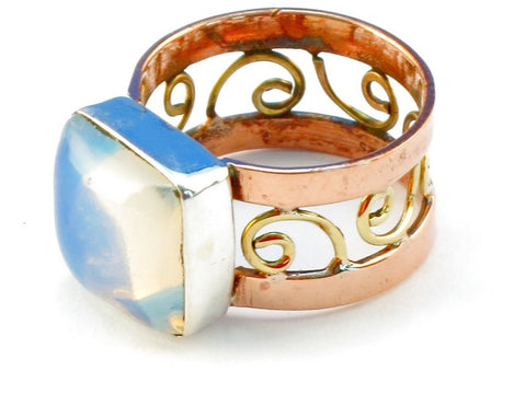 Design 110814 opalite .925 Sterling Silver Ring Size 7