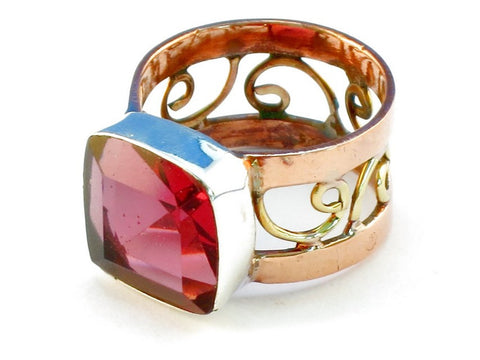 Design 110858 raspberry topaz .925 Sterling Silver Ring Size 6