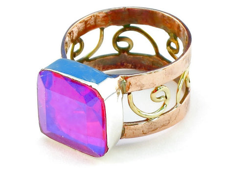 Design 110877 pink rainbow mysterious topz .925 Sterling Silver Ring Size 7