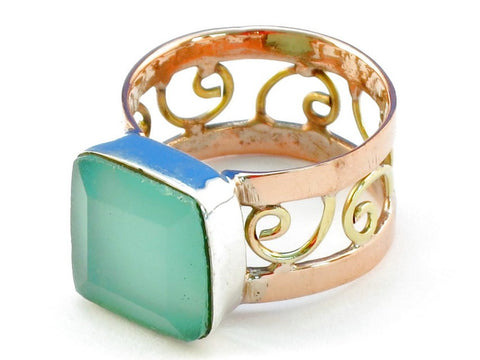 Design 110881 aquamarine .925 Sterling Silver Ring Size 7