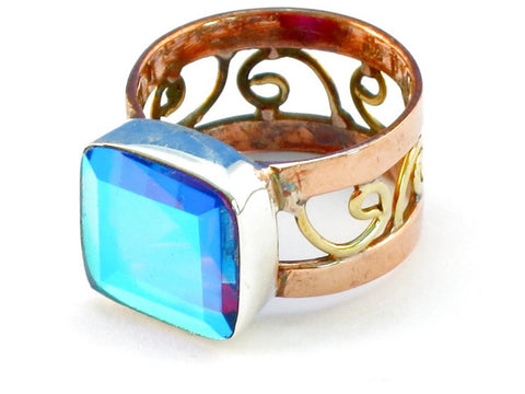 Design 110891 blue rainbow mysterious topaz .925 Sterling Silver Ring Size 7
