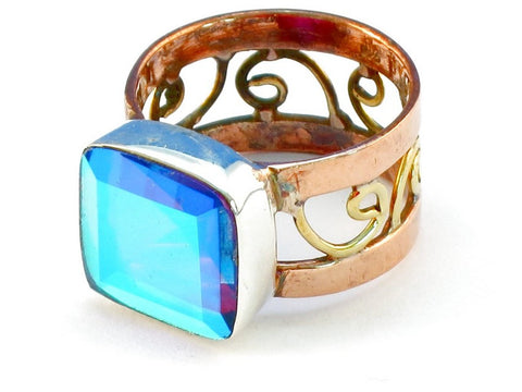 Design 110893 blue rainbow mysterious topaz .925 Sterling Silver Ring Size 9