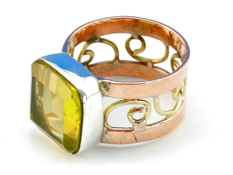 Design 110914 lemon topaz .925 Sterling Silver Ring Size 7