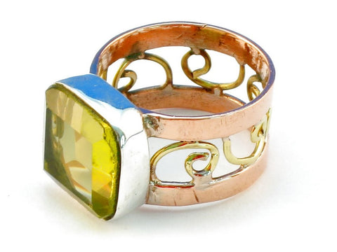 Design 110919 lemon topaz .925 Sterling Silver Ring Size 9