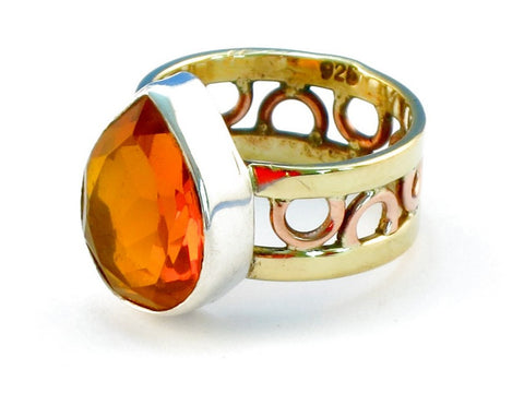 Design 110980 golden topaz .925 Sterling Silver Ring Size 6