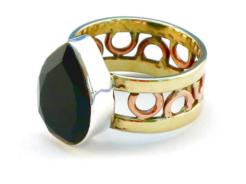 Design 111003 black onyz .925 Sterling Silver Ring Size 10