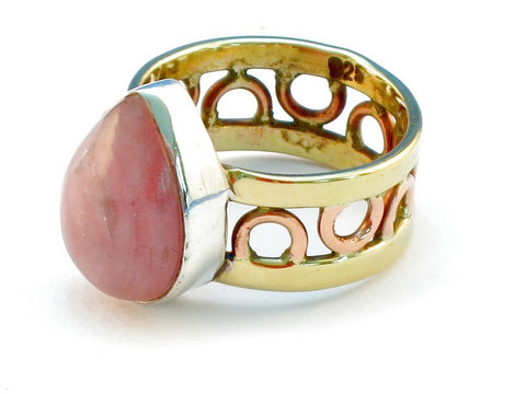 Design 111033 rhodocrosite .925 Sterling Silver Ring Size 9