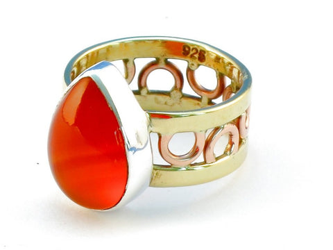 Design 111072 carnelian .925 Sterling Silver Ring Size 7