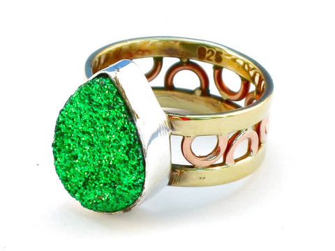 Design 111093 green druzy .925 Sterling Silver Ring Size 7