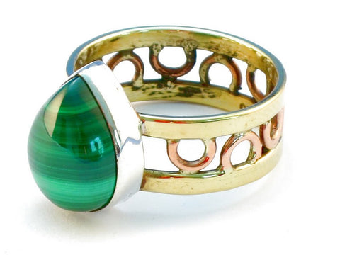 Design 111098 malachite .925 Sterling Silver Ring Size 9