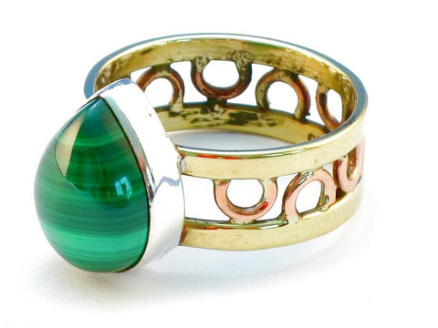 Design 111099 malachite .925 Sterling Silver Ring Size 10