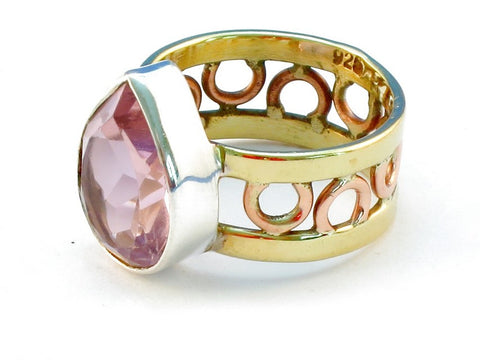 Design 111120 pink kunzite .925 Sterling Silver Ring Size 10