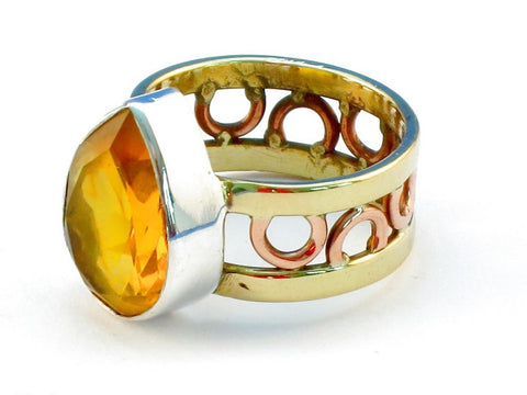 Design 111123 citrine .925 Sterling Silver Ring Size 8