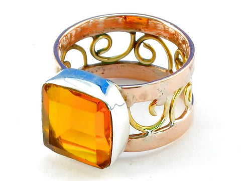 Design 110605 citrine .925 Sterling Silver Ring Size 7