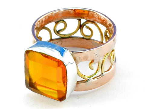 Design 110607 citrine .925 Sterling Silver Ring Size 9