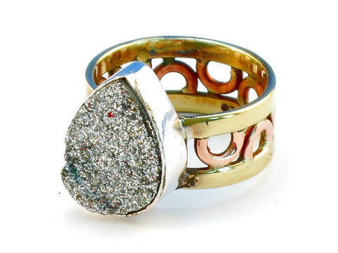 Design 111150 silver druzy .925 Sterling Silver Ring Size 9
