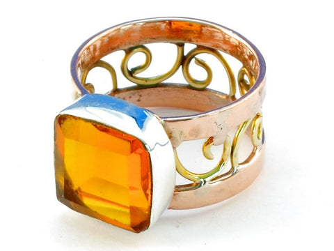 Design 110608 citrine .925 Sterling Silver Ring Size 10