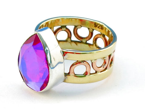 Design 111163 pink rainbow mysterious topz .925 Sterling Silver Ring Size 6