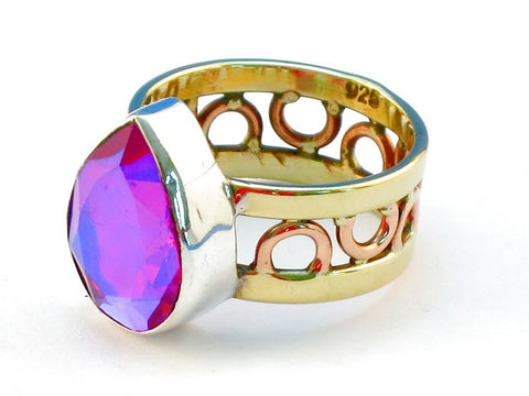 Design 111166 pink rainbow mysterious topz .925 Sterling Silver Ring Size 9