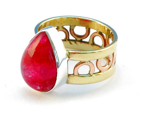 Design 111191 ruby rainbow moonstone .925 Sterling Silver Ring Size 10