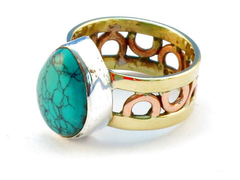 Design 111202 turquoise .925 Sterling Silver Ring Size 6
