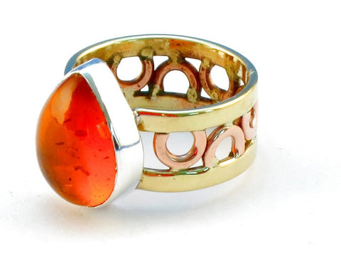 Design 111207 amber .925 Sterling Silver Ring Size 6