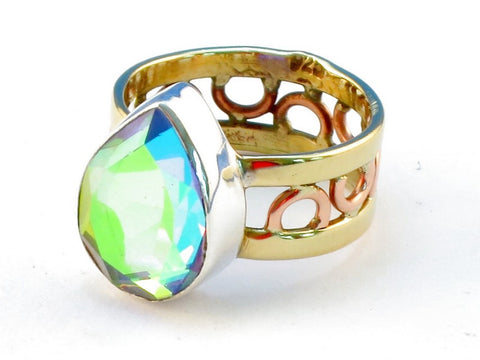 Design 111219 rainbow mysterious topaz .925 Sterling Silver Ring Size 6