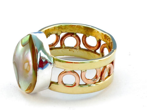 Design 111246 abalone .925 Sterling Silver Ring Size 9