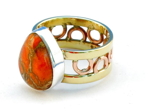 Design 111307 orange copper turquoise .925 Sterling Silver Ring Size 6