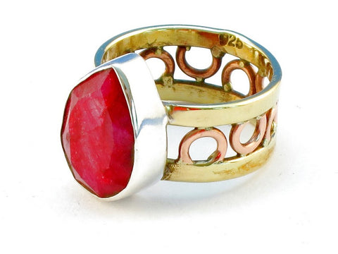 Design 111316 ruby .925 Sterling Silver Ring Size 10