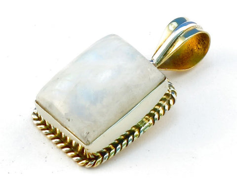 Design 111327 rainbow moonstone .925 Sterling Silver Pendant 1 3/8""