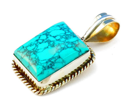 Design 111338 turquoise .925 Sterling Silver Pendant 1 3/8""