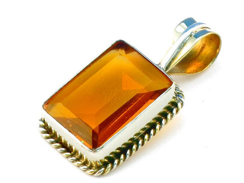 Design 111340 citrine .925 Sterling Silver Pendant 1 3/8""