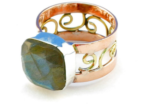 Design 110636 labradorite .925 Sterling Silver Ring Size 8