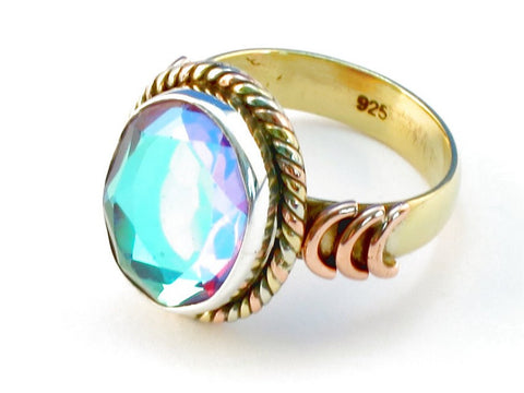 Design 110247 blue rainbow mysterious .925 Sterling Silver Ring Size 9