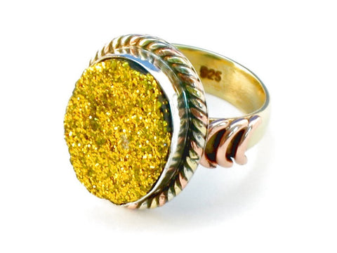 Design 110271 gold druzy .925 Sterling Silver Ring Size 8