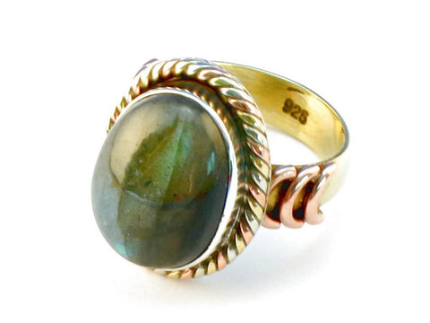 Design 110275 labradorite .925 Sterling Silver Ring Size 6