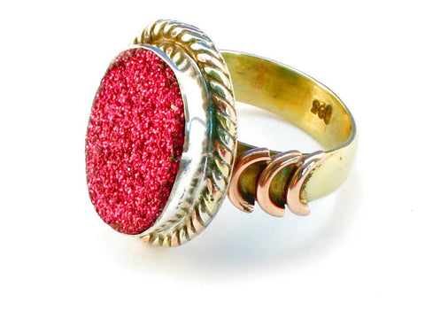 Design 110280 rasberry druzy .925 Sterling Silver Ring Size 6
