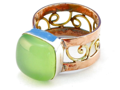 Design 110643 prehnite .925 Sterling Silver Ring Size 7