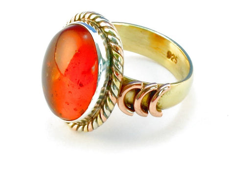 Design 110305 amber .925 Sterling Silver Ring Size 6