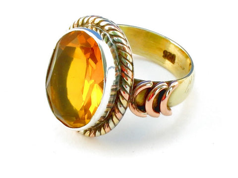 Design 110407 citrine .925 Sterling Silver Ring Size 6