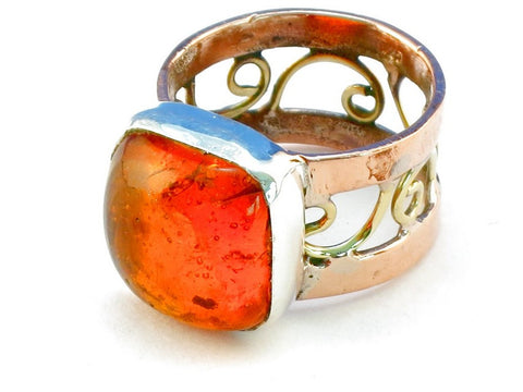 Design 110652 amber .925 Sterling Silver Ring Size 6