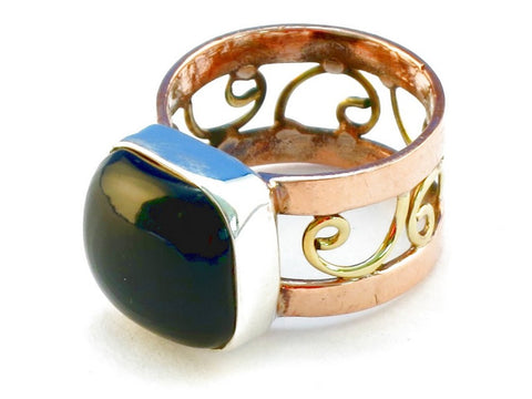 Design 110659 black onyx .925 Sterling Silver Ring Size 7