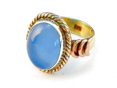 Design 110526 blue chalcedony .925 Sterling Silver Ring Size 6