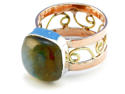 Design 110665 labradorite .925 Sterling Silver Ring Size 7