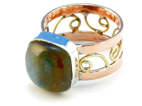 Design 110666 labradorite .925 Sterling Silver Ring Size 7