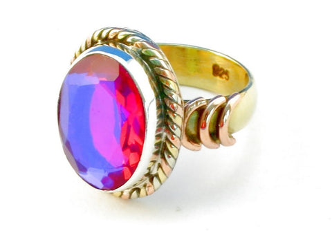 Design 110553 pink rainbow mysterious .925 Sterling Silver Ring Size 6