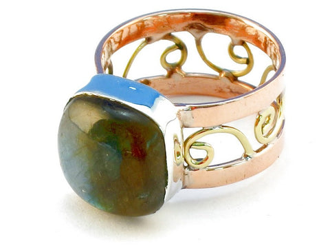 Design 110667 labradorite .925 Sterling Silver Ring Size 8